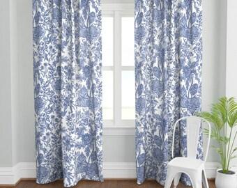 blue white curtain etsy
