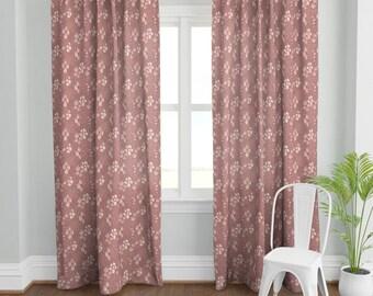 mauve curtains etsy