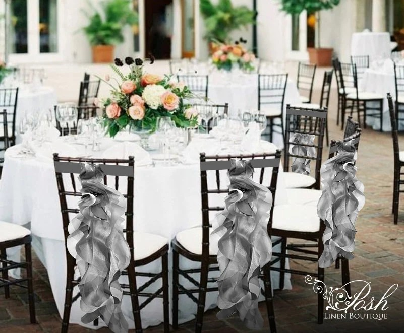 wedding chair sash akracing gaming review silver sashes covers special event etsy