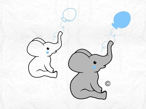 Download elephant svg baby balloon svg boy svg Birthday svg Baby   Etsy