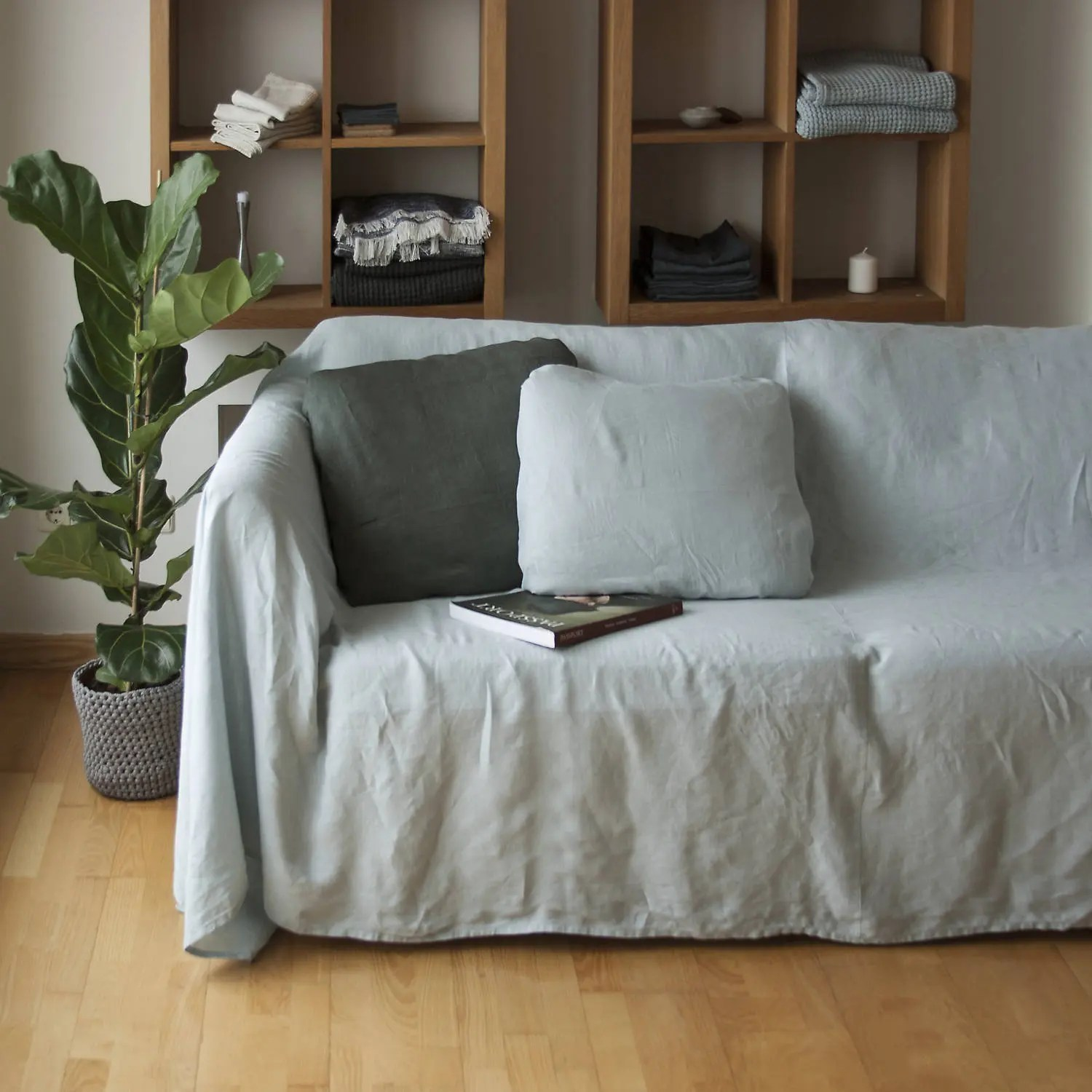 linen sofa slipcover slumberland recliners couch cover bedspread natural etsy image 0