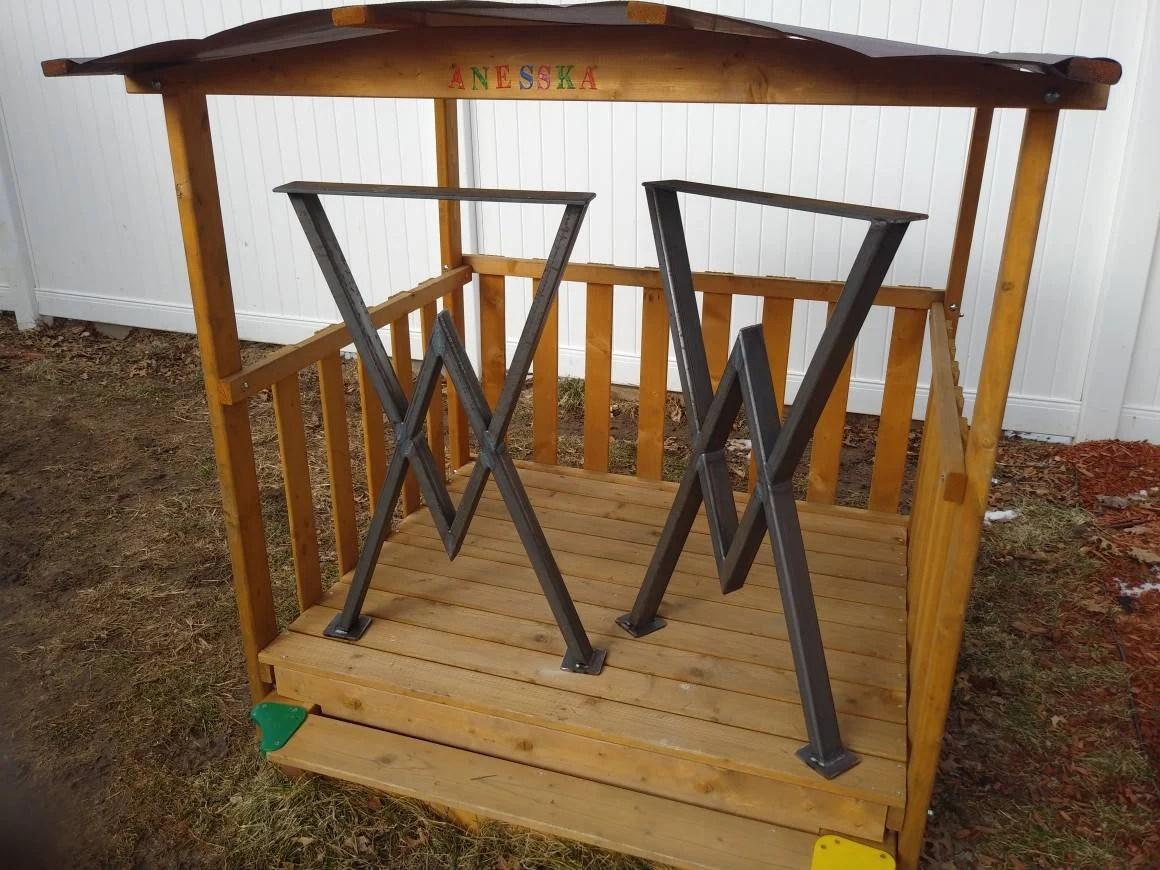 Diamond Table Legs Counter Height Metal Base   Set Of 2