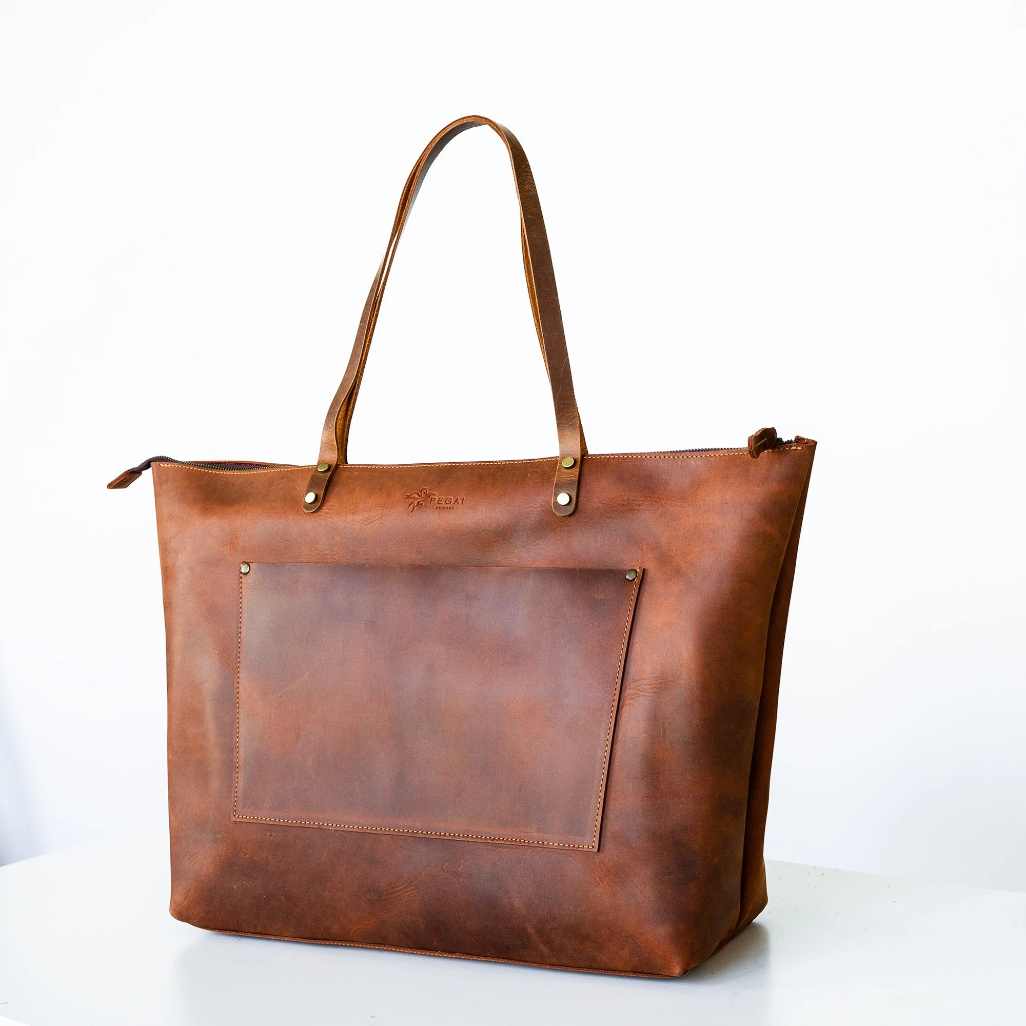 Handcrafted Leather Tote SALE Tote w Zipper and Pocket image 5