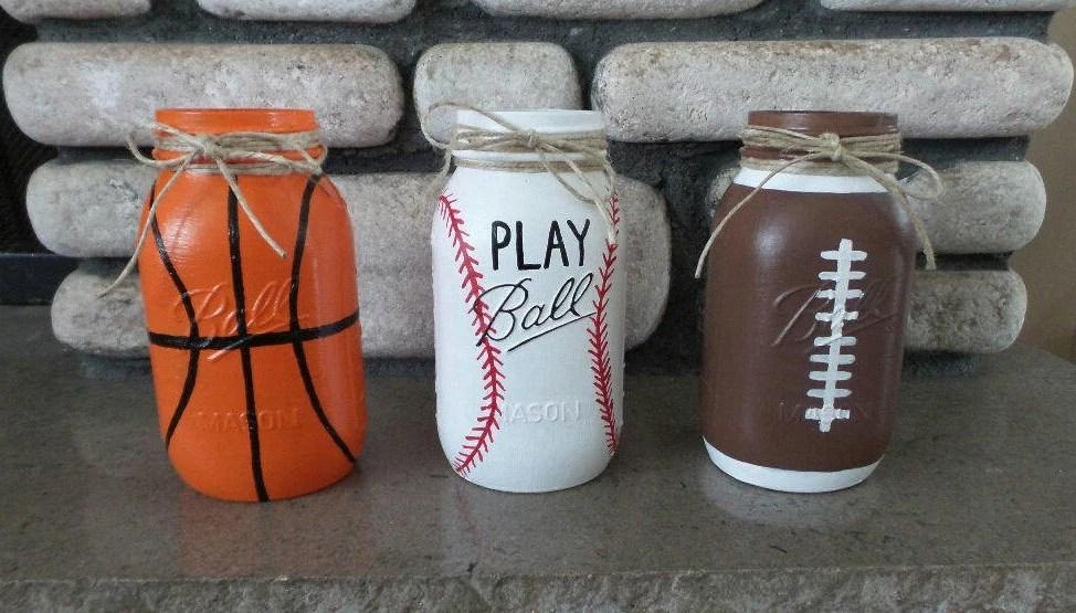 Sports Theme Mason Jars Basketball Baseball Football Mason