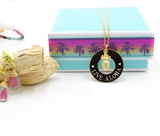 Pineapple Necklace Aloha Necklace Personalized Gift Bridesmaid Gift Beach Wedding Tropical Necklace Pineapple Jewelry Live Aloha Necklace