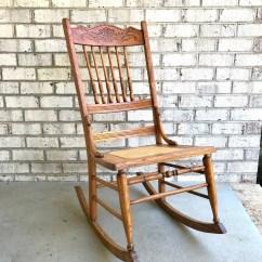 Antique Spindle Rocking Chair Green Velvet Swivel Rocker Etsy Solid Wood Cane Bottom Oak Carved Pressed Back