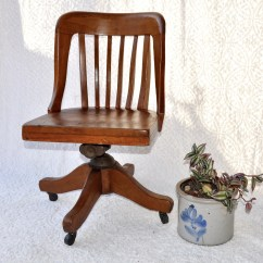 Wooden Library Chair Cover Hire Suffolk Etsy High Point Co Solid Oak Captain S Swivel Office Old Rustic Caster Adjustable