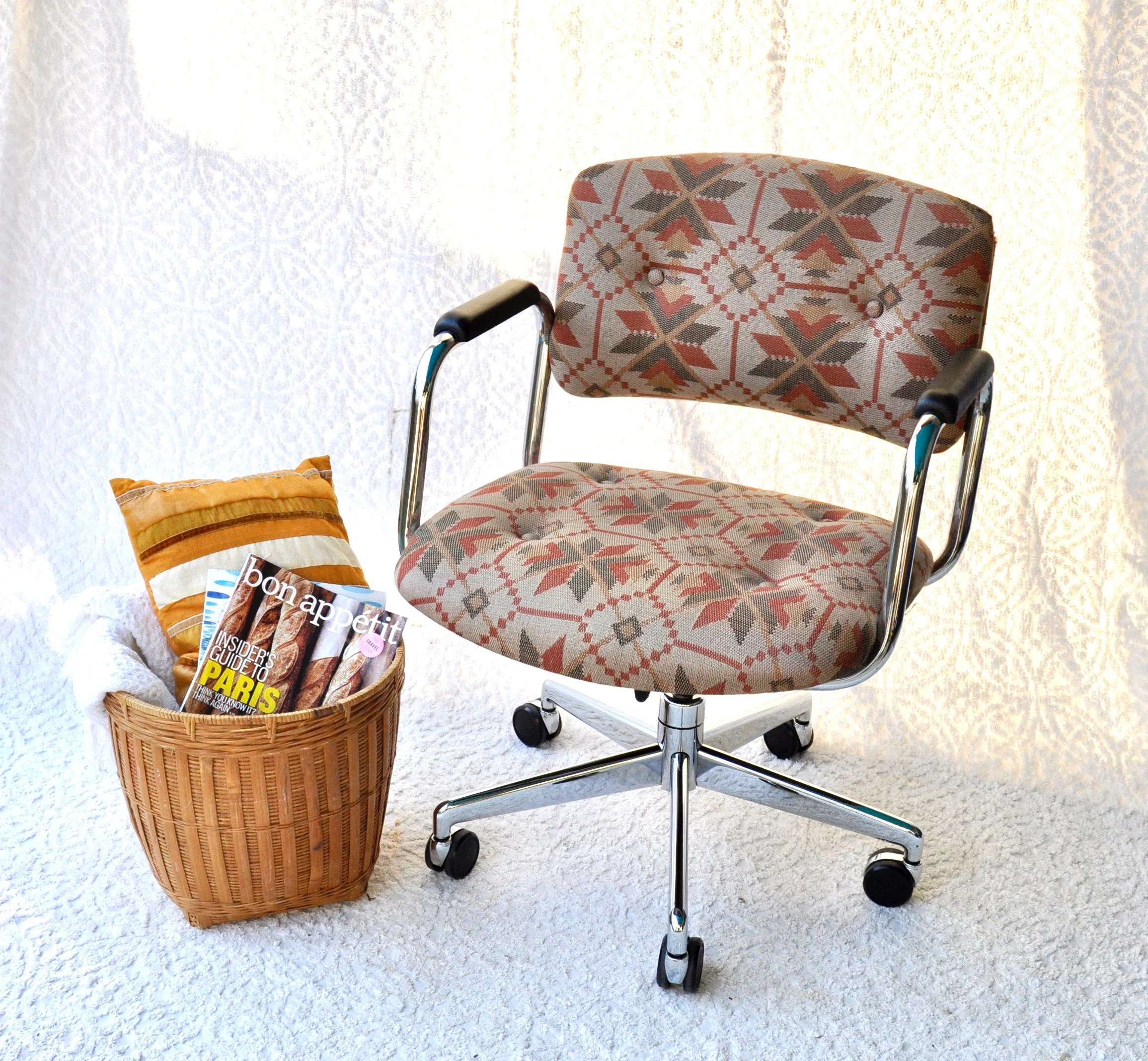 adjustable desk chairs baby at walmart vintage united chair co bohemian pattern swivel etsy image 0
