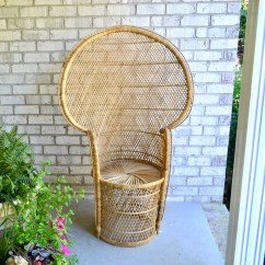 Fan Back Wicker Chair Cheap Modern Rocking Large Vintage Peacock Rattan Etsy Image 0