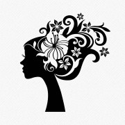 girl with floral hair silhouette