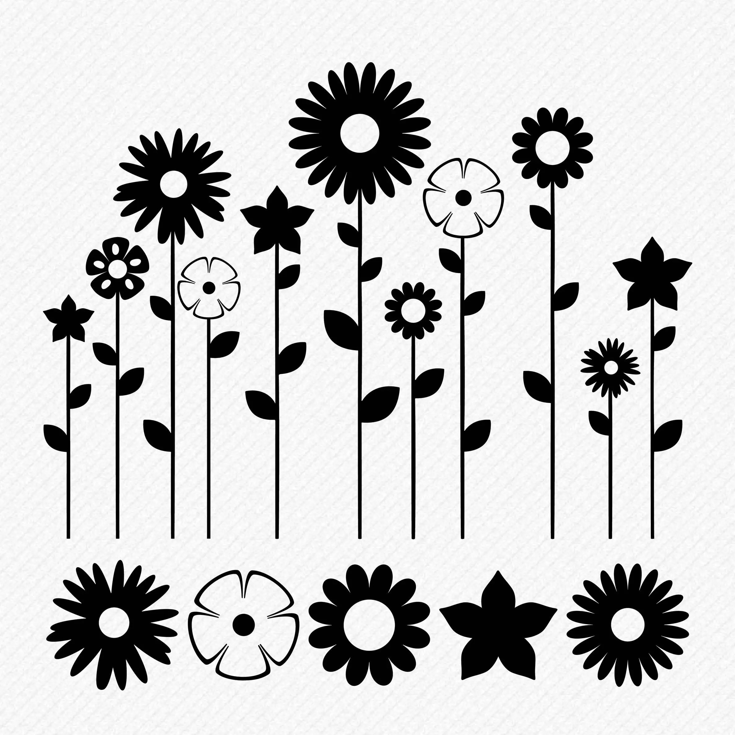 Svg Flowers Svg Floral Svg Flower Garden Cricut Silhouette