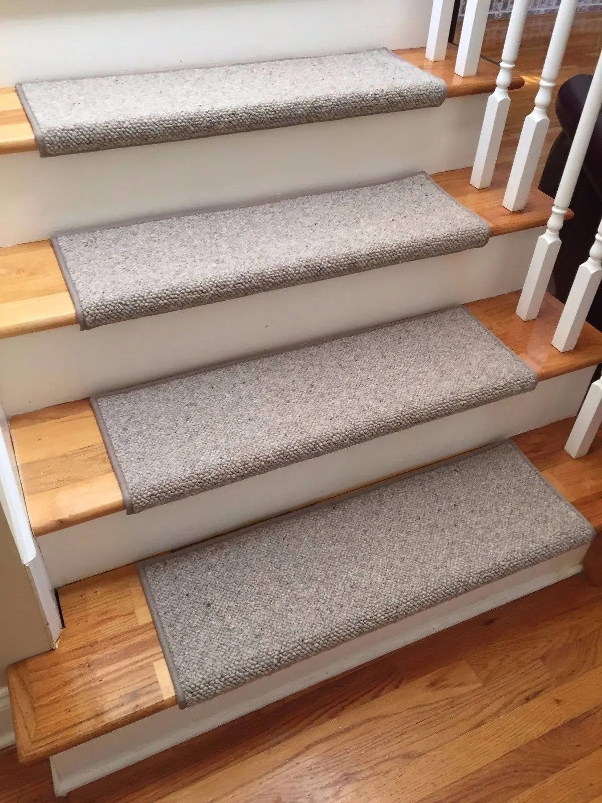 Alfa Stone 100 Wool True Bullnose™ Padded Carpet Stair Tread   Carpet Treads For Steps   Oak   Double Thickness Tread   Textured   Anti Slip   Creative