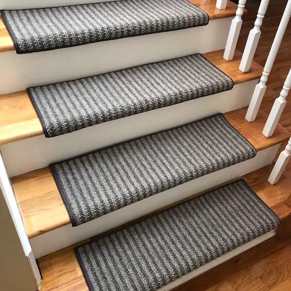 Bozeman 100 Wool True Bullnose™ Padded Carpet Stair Tread Etsy | Wool Carpet Stair Treads | Flooring | Zealand Wool | Beige Carpet | Cat Pet | Hardwood Stairs
