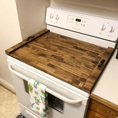 Kitchen Stove Tops Red And Yellow Curtains Rustic Top Cover Custom Wooden Tray Etsy Image 0