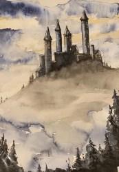 Gothic Castle Original Watercolor Painting Fantasy Sci Fi Etsy