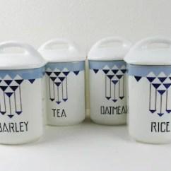 Canisters Kitchen Cabinets Designs Ceramic Etsy Vintage Porcelain Storage