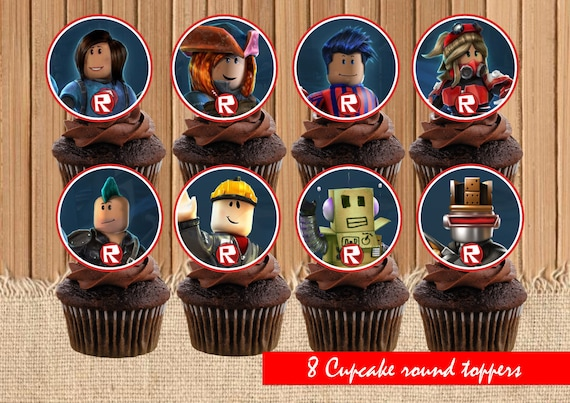 Digital Roblox Cupcake Toppers Roblox Party Birthday Etsy