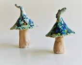 Blue speckled ceramic toadstool, handmade home and garden decoration