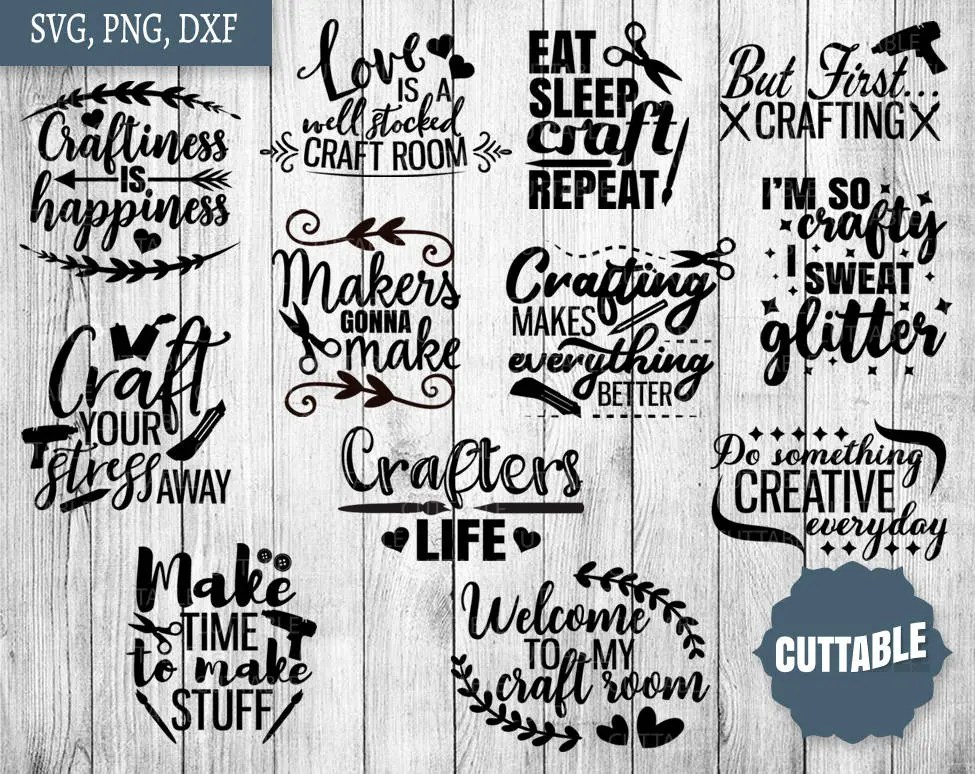 Crafting Svg Bundle Craft Quote Svg Pack Cut Files 12 Etsy