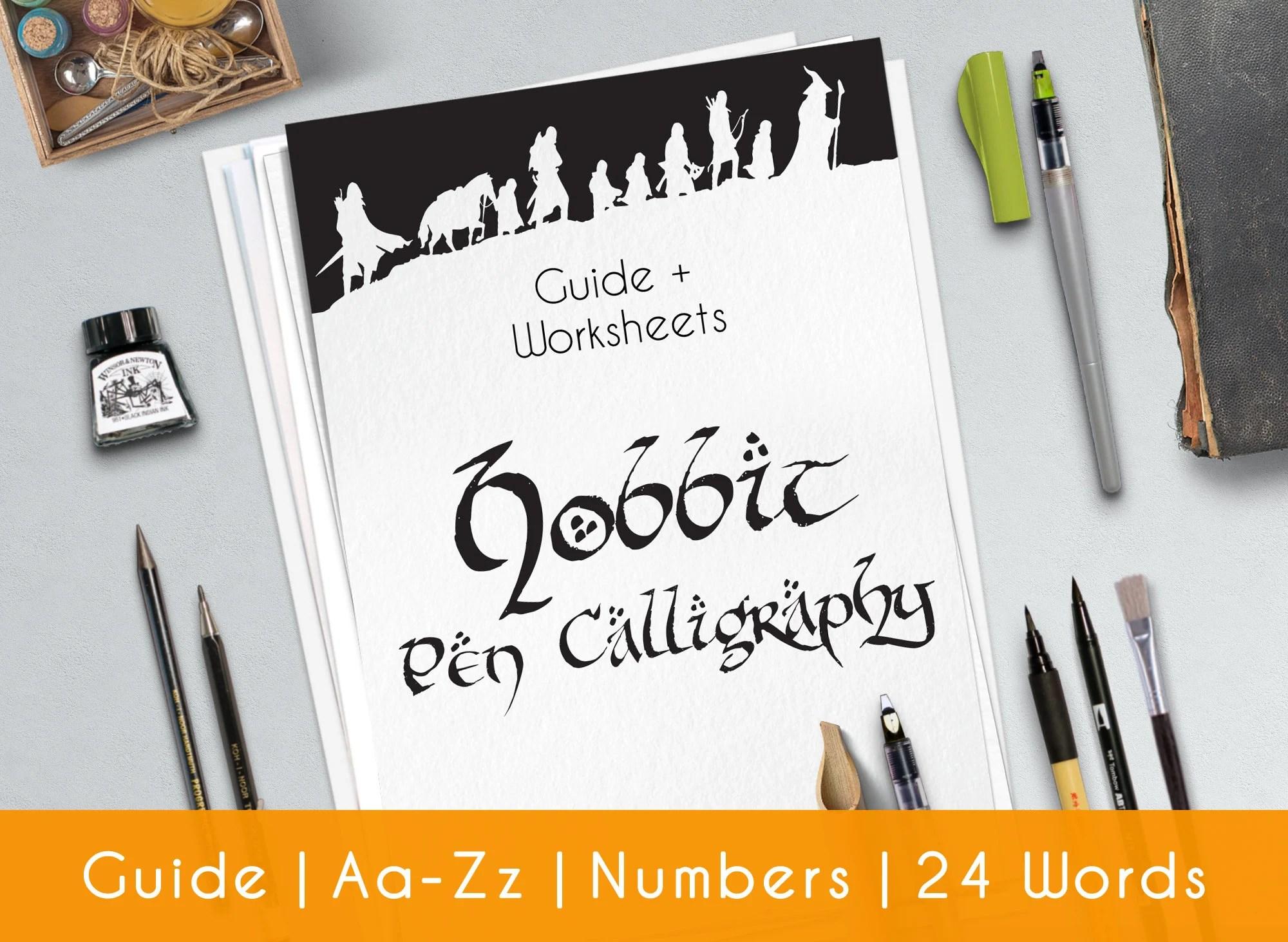 Hobbit Calligraphy Printable Worksheets Complete Modern