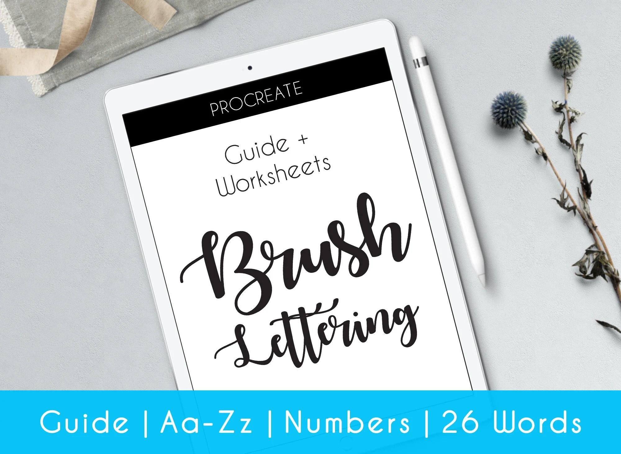 Ipad Hand Brush Lettering Procreate Worksheets Complete