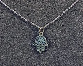 Hamsa Pendant on Stainless Steel Chain Necklace - Judaica Jewelry