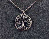 Aytz Chaim (Tree of Life) Pendant on Stainless Steel Chain Necklace - Judaica Jewelry