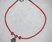 Red Leather Beaded Hamsa Kabbalah Bracelet