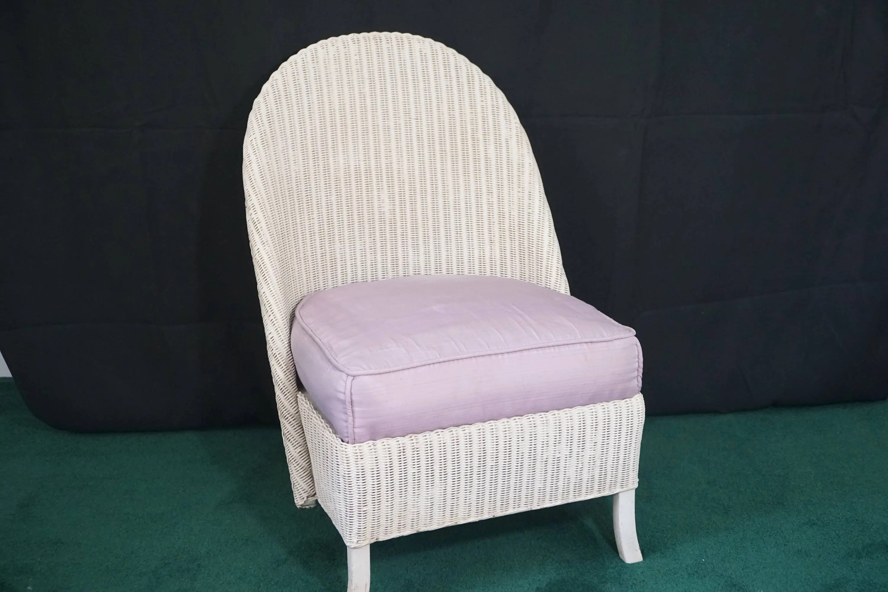 childs rattan chair stools with backs kids wicker etsy antique vintage white slipper back seat nursery furniture porch sun room child s spring cushion