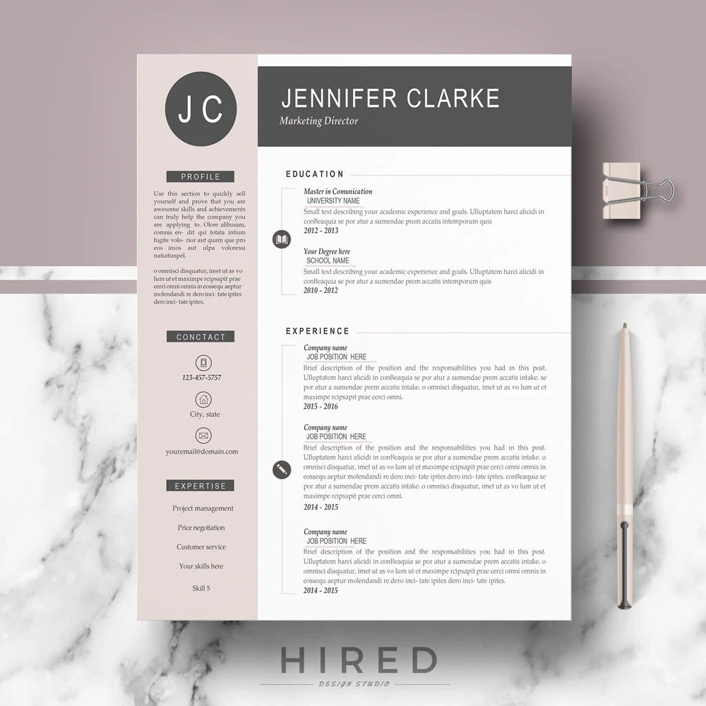 Resume CV Template Modern  Professional Resume for Word and