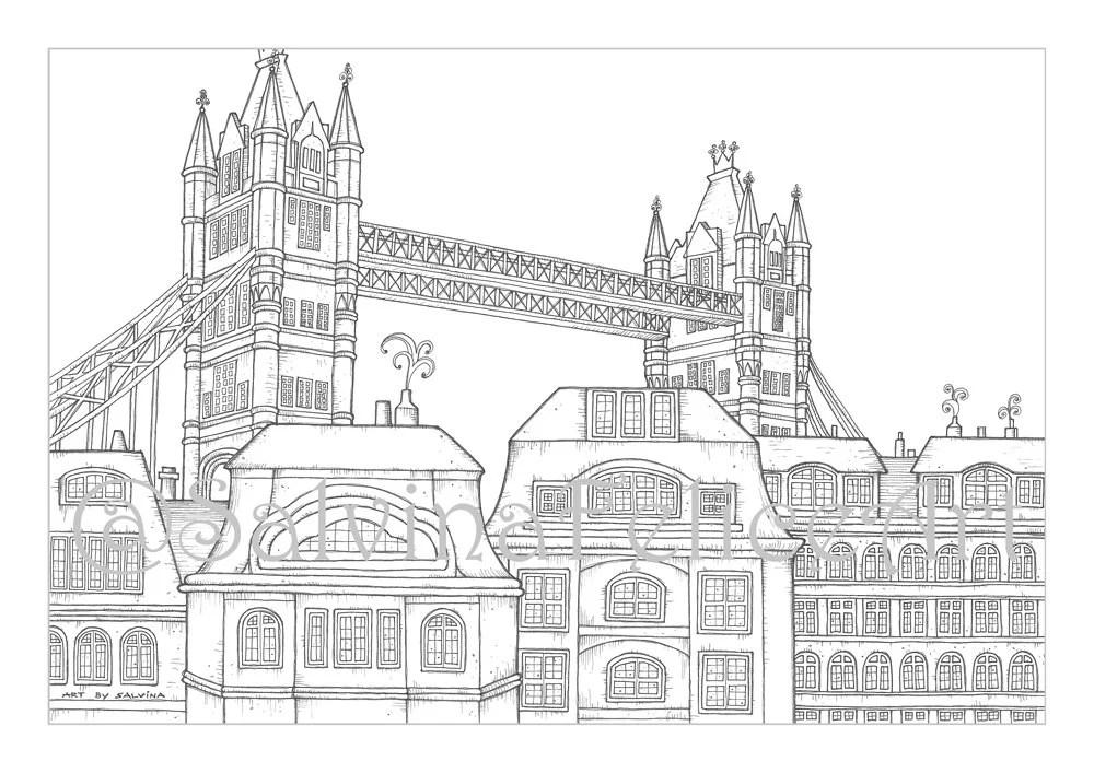 London-Stadt-Ausmalbilder Download Digitaldruck von meinem