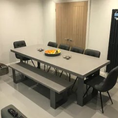 Concrete Kitchen Table Update Cost Estimate Etsy Dining And Bench Cool Grey 8mm Steel Legs Clear Coat Delivered Installed