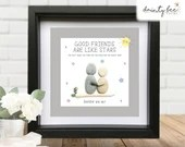Pebble Art GOOD FRIENDS like Stars Gift • Personalised Picture Handmade & Framed to Order • Sea Glass •  Gift • 2 Sizes