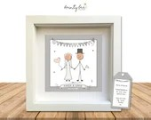 Wedding Personalised Button Art Picture Gift. Handmade & Framed to Order • Boho Style. Options Available