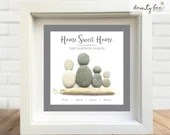 Pebble Art House Home Family Gift. Personalised Picture Handmade and Framed to Order • Sea Glass • 2 Sizes • Valentine