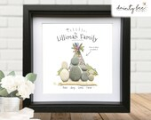 Pebble Art FAMILY CAMPING Gift - Personalised Picture Handmade & Framed to Order • 2 Sizes | Sea Glass | Outdoors | Friendship | Love | Kids