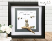 CAT Pebble Art Personalised Gift - A home is not a home without... Handmade & made to order • 2 frame Sizes | Sea Glass Picture