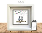 Pebble Art - Couples - Forever be my Always Gift. Personalised Picture Handmade & Framed • Sea Glass • Girlfriend, Boyfriend, Love
