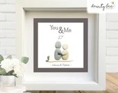 Pebble Art YOU & ME Friends Couple Gift. Personalised Picture Handmade and Framed to Order • 2 Sizes | Sea Glass | Birthday | Valentine