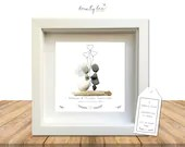 Pebble Art Wedding Rustic Gift. Personalised Picture Handmade Framed to Order • Sea Glass • Shabby Chic Boho Balloons • Options Available
