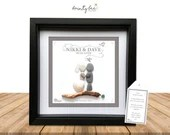Pebble Art Wedding Elegant Gift Personalised Picture. Handmade & Framed to Order - Art Gift • Sea Glass • Options Available