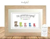 WELLY BOOT Personalised Printed Picture Gift. Framed Art • Wedding, Engagement, Birthday, Family, Dog • Options Available