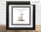 Pebble Art DOG Picture gift personalised - This home is filled with...WET KISSES • Sea Glass • Handmade Custom Design • Mother's Day