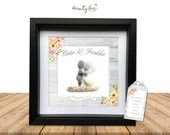 Pebble Art Country Rustic Wood Wedding Gift. Personalised Picture Handmade & Framed to Order • Sea Glass • Options Available