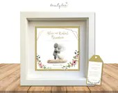 Pebble Art Wedding Romantic Gift. Personalised Picture Handmade and Framed to Order • Sea Glass • Boho Flowers • Options