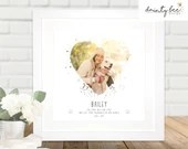 Personalised Gift: Grandparents, Wedding, Family, Love, Pets etc - Framed Photo Keepsake, Your own Wording & Photo | Heart