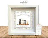 Pebble Art FAMILY Gift - Personalised Picture Handmade & Framed to Order • Flowers • Sea Glass • Handmade Custom  • Options Available
