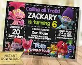 trolls world tour invitation instant download trolls birthday invitation chalkboard editable trolls invitation printable pdf invites