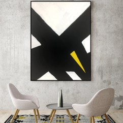 Modern Living Room Canvas Art Plants Uk Abstract Black And White Yellow Painting For 1