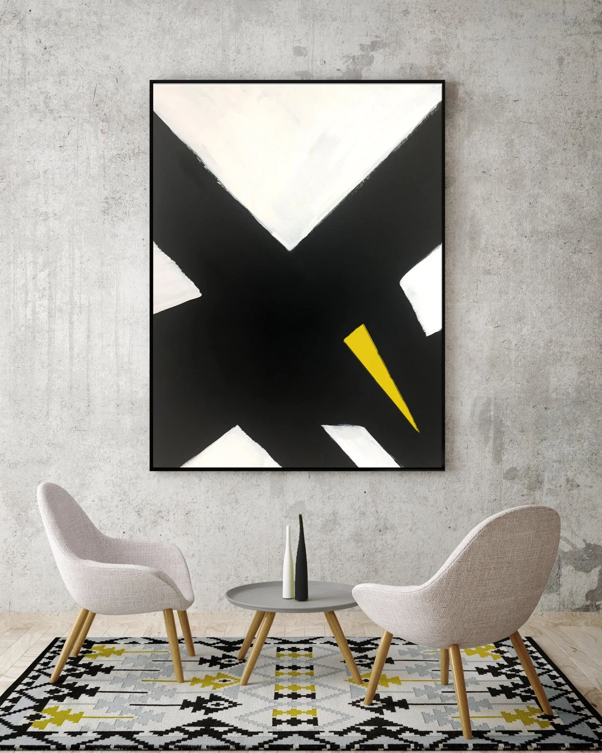 living room pictures black and white club chairs for abstract yellow canvas painting modern 1